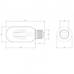 Medida Bombilla led E-27 Filamento T45 4W 360Lm