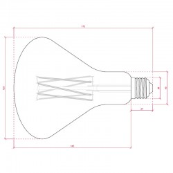 Esquema Bombilla led E-27 Filamento Par38 Regulable 4W 360Lm