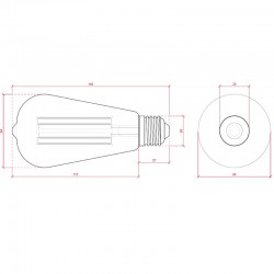 Esquema Bombilla led E-27 Filamento St64 Regulable 4W 360Lm