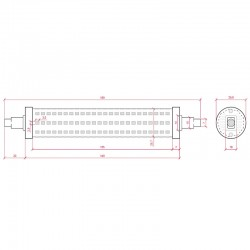 Medida Bombilla led R7S 189mm SMD2835 18W 1800Lm