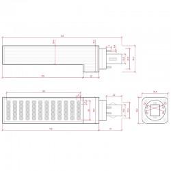 Esquema Bombilla led G24 12W 4pins 1000Lm