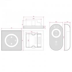 Medidas Controlador Empotrable Táctil RGB+Mando 12-24v