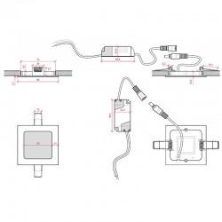Esquema Downlight cuadrado 85mm 3W 230Lm