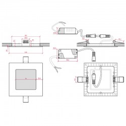 Esquema Downlight cuadrado 120mm 6W 400Lm
