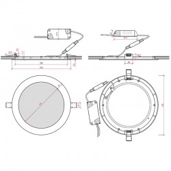 Esquema Downlight circular 225mm 20W 2000Lm