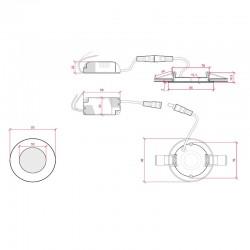 Esquema Downlight circular 90mm 3W 230Lm