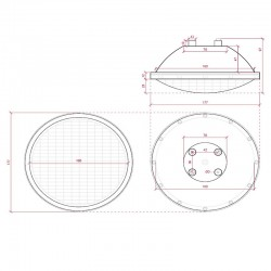 Medida Bombilla Par56 led para piscina 25W RGB con mando