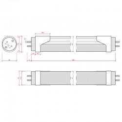 Medidas Tubo Led 60cm 10W 1000Lm Cabeza Rotatoria