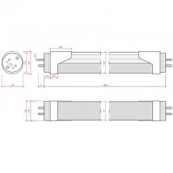 Dimensiones Tubo Led 120cm 18W 1673Lm Cabeza Rotatoria