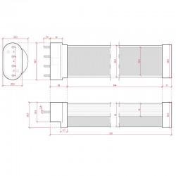 Esquema Tubo Led 2G11 227mm 9W 850Lm