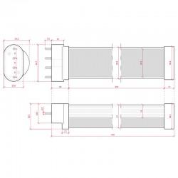 Medidas Tubo Led 2G11 417mm 16W 1500Lm