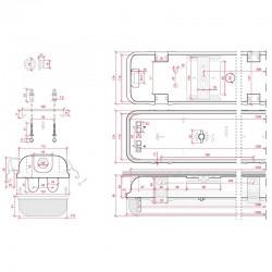 Medidas Pantalla estanca Tubos IP65 2x120cm