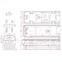 Medidas Pantalla estanca Tubos IP65 2x150cm
