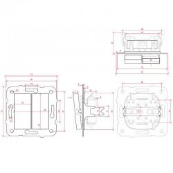 Dimensiones Interruptor Doble Panasonic 10A 220V Tecla Blanca