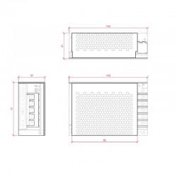 Medidas Transformador metálico 12v 60W 5A IP25