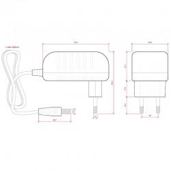 Medidas Transformador plástico 12v 12W 1A