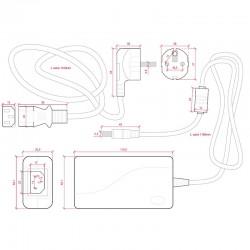 Medidas Transformador plástico 12v 60W 5A