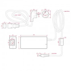 Medidas Transformador plástico 12v 72W 6A