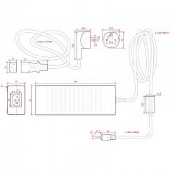 Dimensiones Transformador plástico 12v 120W 10A