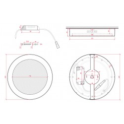 Esquema Plafón circular cromado 18w 1440Lm 225mm