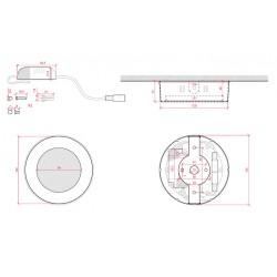 Dimensiones Plafón Circular 6W 430Lm 120mm Niquel Satinado