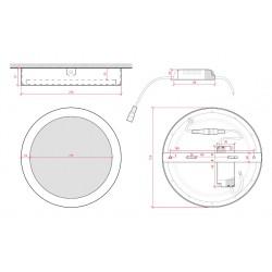 Esquema Plafón circular Rojo 18W 1450Lm 220mm