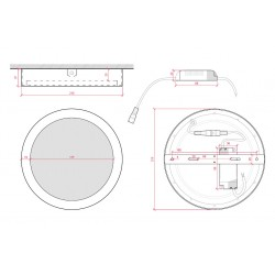 Medidas Plafón circular Negro 18W 1450Lm 220mm