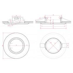 Esquema Aro empotrable circular basculante Acero 92mm