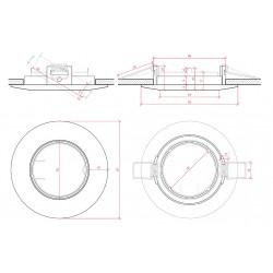 Medidas Aro empotrable Circular Basculante Blanco 93mm