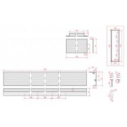 Esquema Marco superficie para panel led 1200x300mm