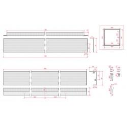 Esquema Marco superficie para panel led 600x600mm