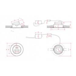 Esquema Foco Downlight Led Circular 3W 300Lm Ø85mm