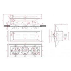 Esquema Foco Downlight rectangular Cardan 9W 900Lm