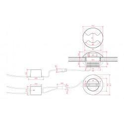 Esquema Downlight led circular 2W Ø52mm 2salida