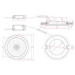 Medidas Downlight led COB circular 15W 1200Lm