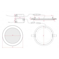 Esquema Downlight Circular Plateado 15W 192mm 1170Lm