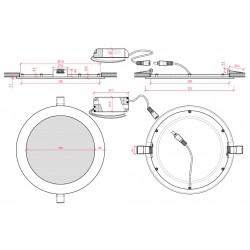 Esquema Downlight Circular Plateado 18W 225mm 1350Lm