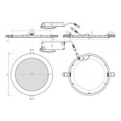 Esquema Downlight Circular Plateado 20W 240mm 1860Lm