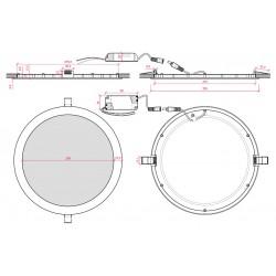 Medida Downlight Circular Plateado 25W 295mm 2000Lm