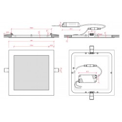 Medidas Downlight Cuadrado Plateado 18W 224mm 1350Lm
