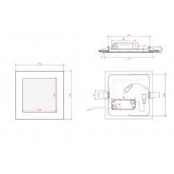 Medidas Downlight cuadrado Bronce 12W 170mm 860Lm