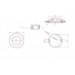Esquema Downlight redondo Bronce 6W Ø120mm 480Lm