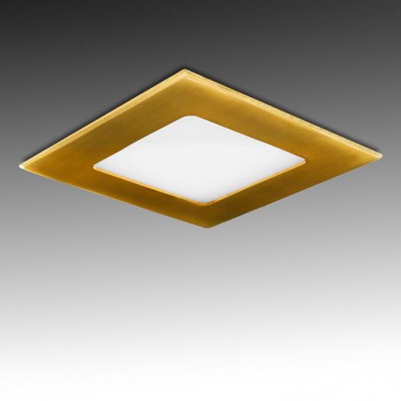 Downlight cuadrado Dorado 6W 120mm 480Lm