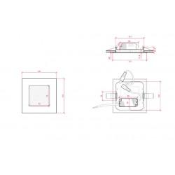 Medidas Downlight cuadrado Dorado 6W 120mm 480Lm