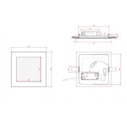 Esquema Downlight cuadrado Dorado 12W 170mm 860Lm