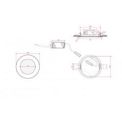 Esquema Downlight redondo Dorado 6W Ø120mm 480Lm