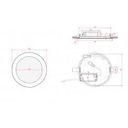 Esquema Downlight redondo Dorado 12W Ø170mm 860Lm