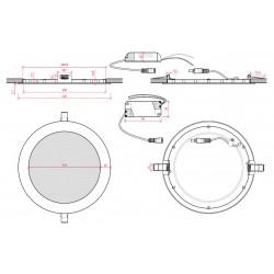 Esquema Downlight Circular Negro 225mm 18W
