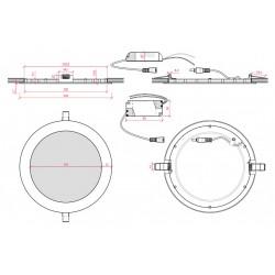 Medida Downlight Circular Rojo 225mm 18W