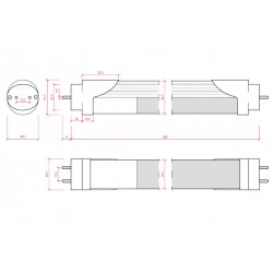 Esquema Tubo led Sensor Proximidad 10W 600mm
